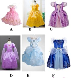 Wholesale Satin Ankle - 6 style PrettyBaby Belle Princess Dress Girl Rapunzel Dress Sleeping Beauty Princess Aurora Flare Sleeve Dress for Party Birthday in stock