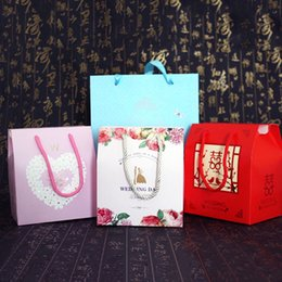 Wholesale Wholesale Paper Doors - Wedding Door Gift Box Portable Candy Box Pretty Pattern Gift Bag Packaging Bags For Wedding Sweet Lovely Decoration Random Color