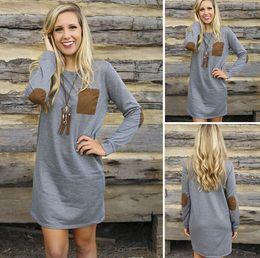 Wholesale Shift Dress Wholesale - Wholesale-Fashion Women Casual Elbow Patch Loose Shift Mini Dress Jumper Pullover Long Top