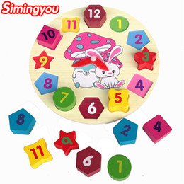 Wholesale Baby Girls Clock - Simingyou Wooden Toys Cartoon Children Educational Toy Digital Geometry Clock Baby Boy Girl Puzzles WRB23