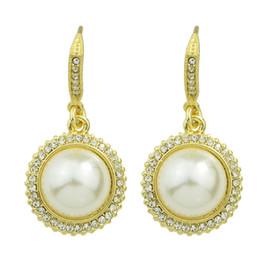 Wholesale Big Crystal Earrings For Bridal - Luxury Big Earrings Rhinestone and Simulated Pearl Geometric Dangle Bridal Hanging Earrings For Women Party