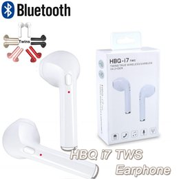Wholesale Headset Noise Canceling - HBQ i7 Twins Bluetooth Headset V4.1 In Ear Headphone Bluetooth Headset Wireless Sports Stereo Earphones Headset Noise Canceling for note8
