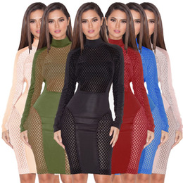 Wholesale Sexy Nightclub Dress Code - Fashion explosion paragraph 7 color 4 code hollow sexy dress dress fashion nightclub wish to solid color