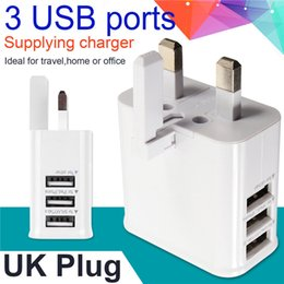 Wholesale Ipad Notes - 3 USB Port UK GB 3 Pin Plug Home Travel Wall Charger Power Adapter For Samsung galaxy s6 s7 edge note 4 5 for iphone 5 6 7 for ipad