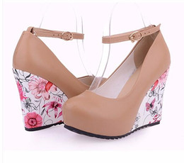 Wholesale Wedge Mary Jane Shoes - Fashion Ankle Strap High Wedges Platform Pumps For Women Casual Elegant Flower Print Wedges Platform Shoes mary jane Dress Shoes