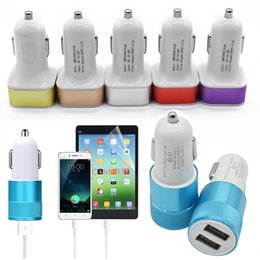 Wholesale Eu Micro Usb - Car Charger Universal 2.1A Dual USB 2 Port LED Light Micro USB Car Plug charging Adapter For Iphone X 8 Tablet Samsung