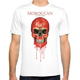 Wholesale Flag Tees - Morocco Skull flag New Fashion Man T-Shirt Cotton O Neck Mens Short Sleeve Mens tshirt Male Tops Tees Wholesale