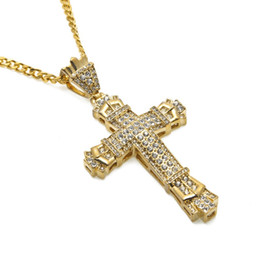 Wholesale Big Rhinestone Cross Pendants - Fashion Mens Hip Hop Big Cross Pendant Necklace Iced Out Full Rhinestone Jewelry 70cm Long Chain Men Necklaces For Men Gold