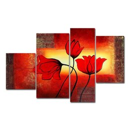 Wholesale flowering plants pictures - 4pcs set 100% Hand-Painted Oil Paintings Flora Plant Flower Lily Modern Abstract Canvas Living Room Office Wall Art Home Decoration