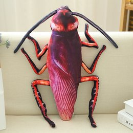 Wholesale Birds Plush Toys - 0804 HANCHENEXP INS Plush Simulated Cockroach Cushion Soft Stuffed Insects Toy Sofa Decor Pillow Cockroach Plush Toy for Home Office Car