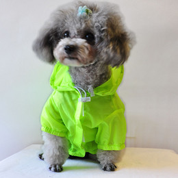 Wholesale Green Supplies Pets - Pet Supplies Dog Nylon Raincoat Soft Comfort Dogs Clothes Waterfproof Sun UV Protection Cloth Blue Green Pink Colors 6 Sizes--L