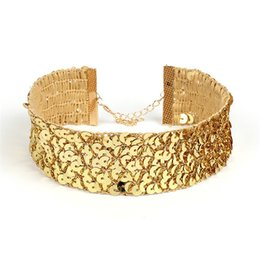 Wholesale Wide Gold Choker - New Design Novelty Punk Style Jewelry Sequins Wide Choker Gold Silver Statement Necklace For Women Gothic Sequins Jewelry YR150
