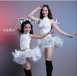 Wholesale Belly Dance Skirts For Girls - 5 Colors Women and girls lace belly dance costumes for kids floral print top+tutu skirt 2pcs suit 2017 women exercise belly dance sets