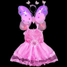 Wholesale Teenage Wholesale Decorations - Children Princess Butterfly Costume Wings Headband Magic Wand Sticks Dress 4pcs Set Photo Props Halloween Party Decoration