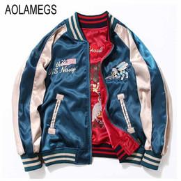 Wholesale Japan Embroidery - Wholesale- Aolamegs Japan Yokosuka Embroidery Jacket Men Women Fashion Vintage Baseball Uniform Both Sides Wear Kanye West Bomber Jackets