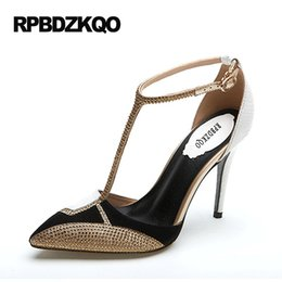 Wholesale Colored Rhinestone Heel Shoe - Multi Colored Rhinestone High Heels Crystal 9 40 33 Golden Ultra Pointed Toe European Designer Shoes Women Brand T Strap Pumps