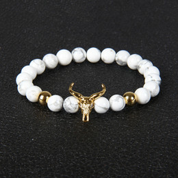 Wholesale Animal Marbles - Wholesale 10pcs lot 8mm White Howlite Marble Stone Beads With Alloy Bullfight Bracelet Luxury Men&Women Animal Charm Jewelry