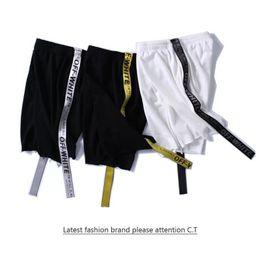 Wholesale Graffiti Harem Pants - 2017 summer men shorts trend Tide card OFF White Graffiti sports leisure pants pants instapram Europe and the United States