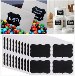 Wholesale Kitchen Cabinets Stickers - 36Pcs   lot 3 Shape Blackboard Sticker Black Chalkboard Chalk Board Decals For Craft Kitchen Jar Organizer Labels Kitchen Accessories 498