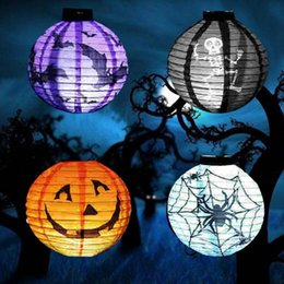 Wholesale Lighted Halloween Bat - Halloween Paper Lanterns Jack-O Lanterns Pumpkin Bat Halloween Hanging Light Decoration Light Lamp Halloween Party Decor 1200pcs OOA2832