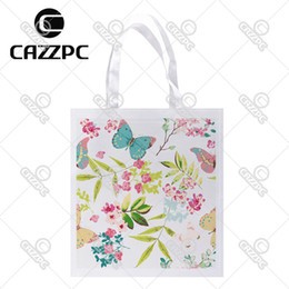 Wholesale Colorful Watercolor - Wholesale- Watercolor Colorful spring Tropical Flower with Butterfly Print Custom individual lightweight polyester fabric Reusable Bag gift