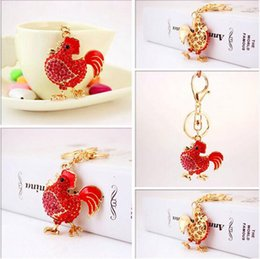 Wholesale Jewelry For Cock - PRO ACME Crystal Cock Rooster Chicken Key chain Rhinestone Keychain Animal Metal Keyring For Women Bag Pendant Jewelry