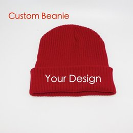 Wholesale Hat Custom Man - custom settings fashion Flanging knitted cap Beanie Hat wool hats for men and women cold hat embroidery your design pattern free DHL shippin