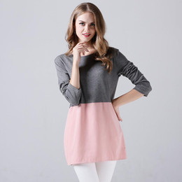 Wholesale Basic Dresses - 2017 Fall Dresses For Women Basic Bodycon Vestidos Dress Long Sleeve O-neck Casual Patchwork Plus Size Ladies Loose Street Mini Dress