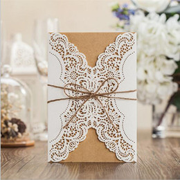 Wholesale Wedding Ribbon Party Supplies - 1pcs Sample Hollow Laser Cut Wedding Invitations Card Personalized Custom with Ribbon Free Envelope & Seals Party Supplies