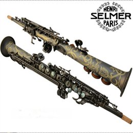 Wholesale Brass Instrument - Musical Instruments Top French Selmer 54 B Soprano saxophone matte black pearl gold key free shipping