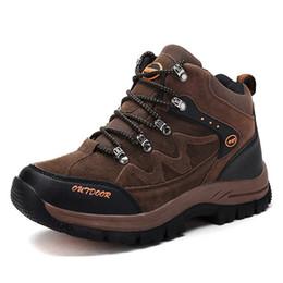 Wholesale Heel 16 - Men Suede Mountain Shoes Male Walking Camping Shoes Outdoor Sneakers Trekking Camping Waterproof HikingShoes Size Us 3-16 77777