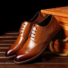 Wholesale Formal Dress Shoes Men - Formal Dress Shoes For Gentle Men Black Genuine Leather Shoes Pointed Toe Men's Business Oxfords Casual Shoes Brown Father's Day Gift