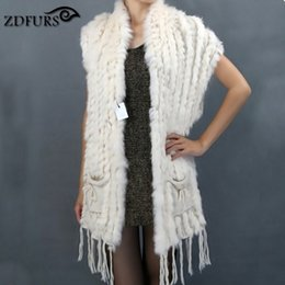 Wholesale Knitted Rabbit Poncho - Wholesale-ZDFURS * Hot sale fashion fur shawl knitted rabbit fur shawl with pocket rabbit fur sweater vest poncho wholesale ZDKR-165004