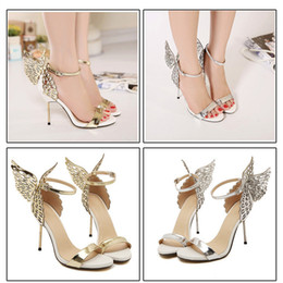 Wholesale Wing Toe High Heels - Fashion Prom Party Womens Shoes Open Toes Shoes Summer Sandals Graduation High Heels Shoe Buckle Strap Thin Heel 10 cm Butterfly Wings