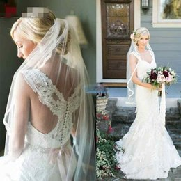 Wholesale Cover Photo New Flower - 2017 New Full Lace Wedding Dress Cross Back Sweetheart Sheer Applique Sash Chapel Train Mermaid Country Style Vintage Bridal Gowns