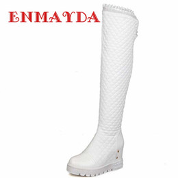 Wholesale Ladies Shoes Size 44 - Wholesale-ENMAYDA Big Size 34-44 New Wedges High Heels Platform Over The Knee High Boots Winter Snow Boot Ladies Solid Long Dress Shoes