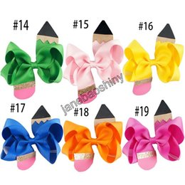 """Wholesale Hair Clip Backings Wholesale - free shipping 50pcs 4.5""""Pencil Hair Bow Back to School Bow, crayon hair clip Pencil hair clips"""