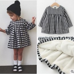 Wholesale Winter Clothes For Little Girls - Kids dresses baby little girls plaid thicken princess dress long sleeve for kid lattice cotton winter warm dress girl clothing T0567