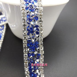 Wholesale Bridal Lace Yard - 8 colors New Products 1.5cm fashion Crystal Clear Rhinestone trim bridal applique Lace Trim yard