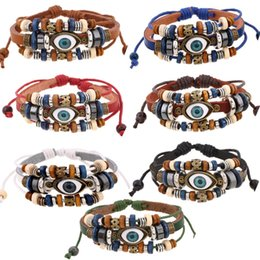 Wholesale vintage leather bracelets - 7 Style Vintage Evil Eye Bracelet Multi Layer Genuine Cowhide Leather Charm Bracelet Cuff Wristband Bead Turkish Jewelry Braclet B907S