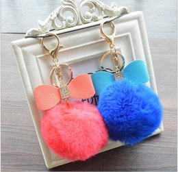 Wholesale Metal Toy Bow - Creative Keychains Car key Ring Colorful 8CM Real Rabbit Fur Ball Keychain Plush Bag Pendant Diamond bow Keychain Mobile Phone Strap 8 Style