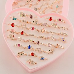 Wholesale Gold Plated Rings Bulk - Fashion Multicolored Zircon Gold Engagement Ring for Women Girl Whole Jewelry Bulks Mix Lots Packs Gift Free Shipping