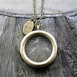 Wholesale 6pcs Real dandelion lockets necklace with wish charm glass floating locket necklace dandelion seed wish jewellery Bronze tone