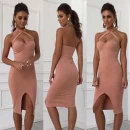 Wholesale Bodycon Halter - Elegant Halter Pink Bandage Dress Women Sexy Front Split Evening Party Bodycon Dresses Strapless club Vestidos DRS010