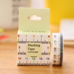 Wholesale Ruler Tape Adhesive - Wholesale- 2016 1Box New 1.5cm Wide Novelty Measure Ruler Washi Tape Adhesive Tape DIY Scrapbooking Sticker Label Masking Tape H2039