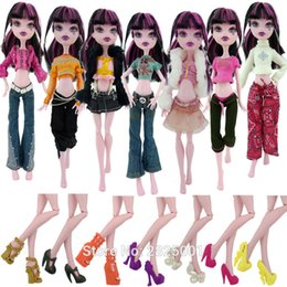 Wholesale Baby Girl High Heels - 10 A Lot =Random 5x Outfit +5x High Heels Shoes Accessories Clothes For Monster High Doll Toy Dollhouse Toys Kids Gift