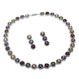 Joyas de piedras preciosas naturales conjuntos collar pendientes 925 plata esterlina zafiro cereza rubí cúbico Zirconia esmeralda mujeres Niza regalos desde fabricantes