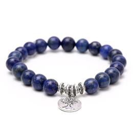 Wholesale Nature Stones Beads - Agate Bracelet Fashion Yoga Bracelet Wrist Mala Beads Tree of Life Healing Bracelet Nature Stone Buddhist Jewelry
