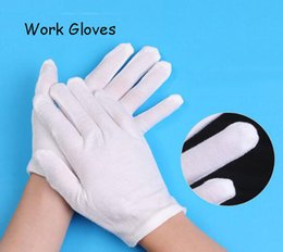 Wholesale Mitten Wear - Labor protection gloves white Etiquette gloves Cotton clean work protective Mittens anti-skid wear resistance working gloves