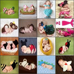 Wholesale Newborn Photography Outfits - Baby Newborn Nursling Cap Photo Photography Props Hats Costume Handmade Crochet Knitted Set Cartoon Animal Beanie Infant Outfits Mix Styles